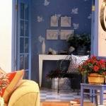Wall Pattern Blue Leaf