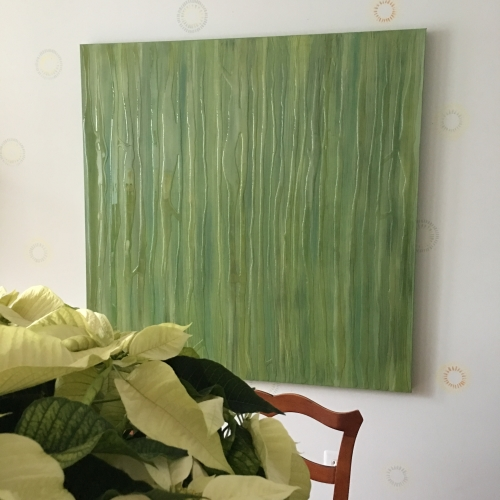 Fine Art Grass. Green modern art for contemporary style