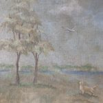 Landscape wall mural dog and bird