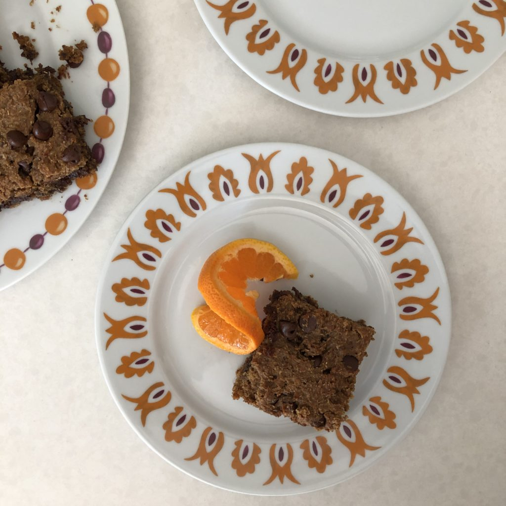 Cut the Orange Chamomile Blondies into squares and enjoy!