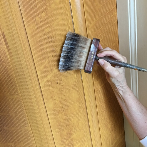 Lincoln Cottage, faux bois, quarter sawn oak woodgrain, front doors, softening tools