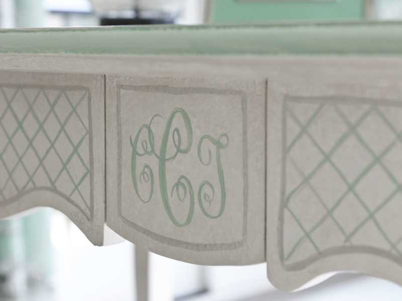 Design hand painted with Gustavian style gesso finish and monogram
