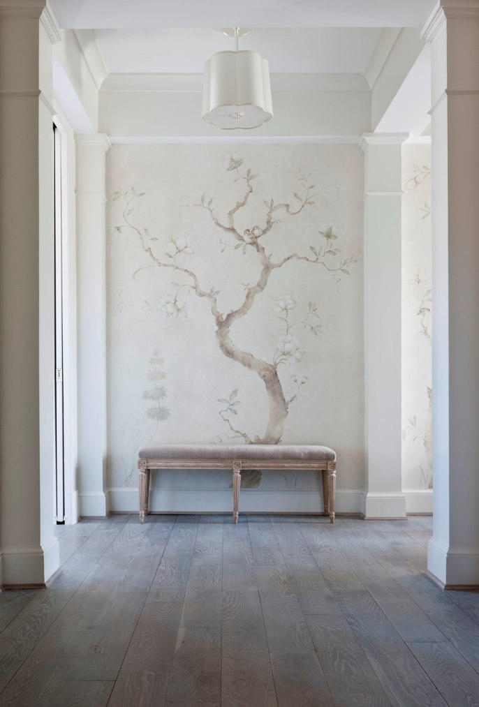 Chinoiserie Botanical Mural, Swedish and Gustavian Style color palette Marika Meyer Interiors