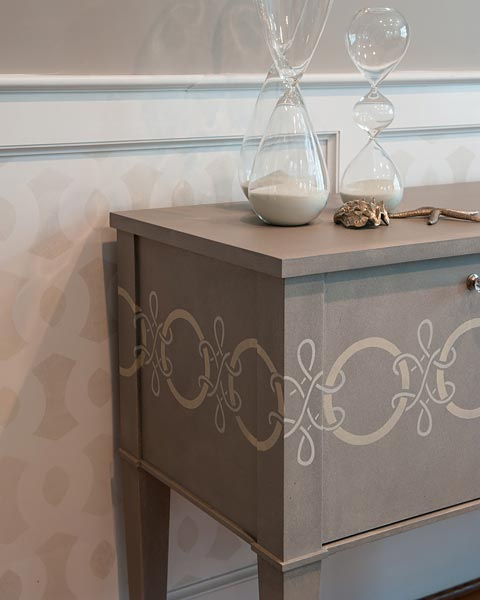 Console hand painted with a Stipple glaze and then patterned with Billet Collins Laced design across the front