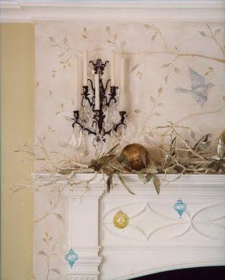 Bird & Branch Mural, Gustavian Swedish Style, interior design by Fiona Newell Weeks Design