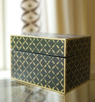 Hand painted gilded and black box by Billet Collins. Storage solutions for savvy interior designers.